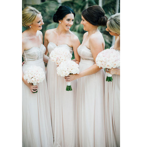 Floor Length Beads and Chiffon Bridesmaid Dresses pst0260