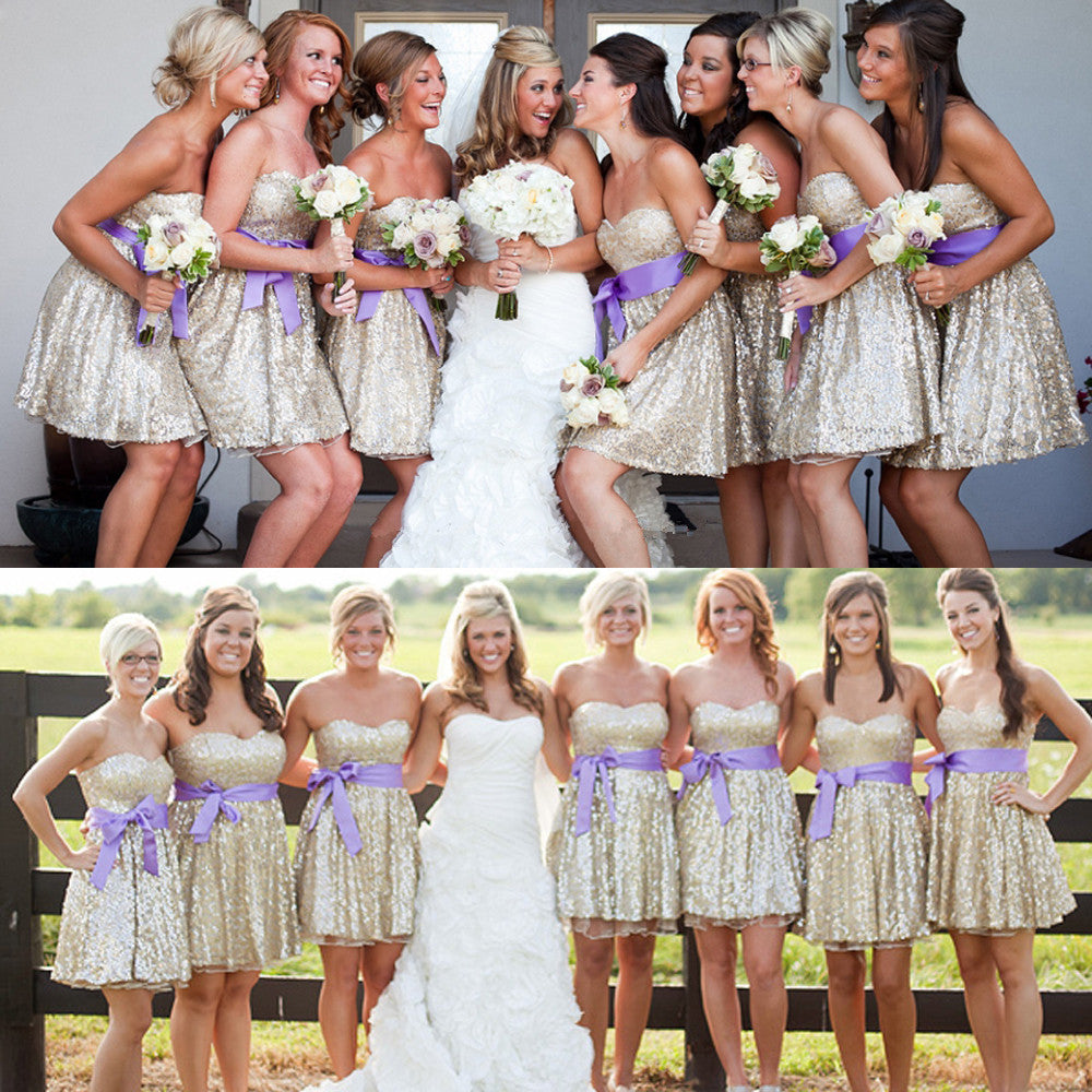 Knee Length Golden Shiny Bridesmaid Dresses pst0265