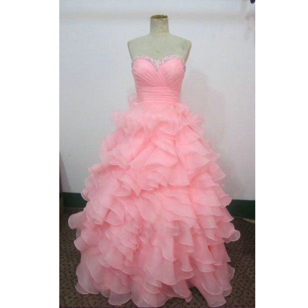 Ruffles Organza Ball Gown Prom Dresses pst0271