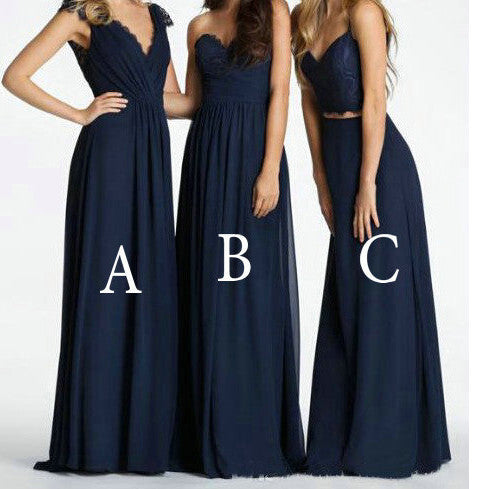 Mismatched Navy Bridesmaid Dresses Floor Length pst0279