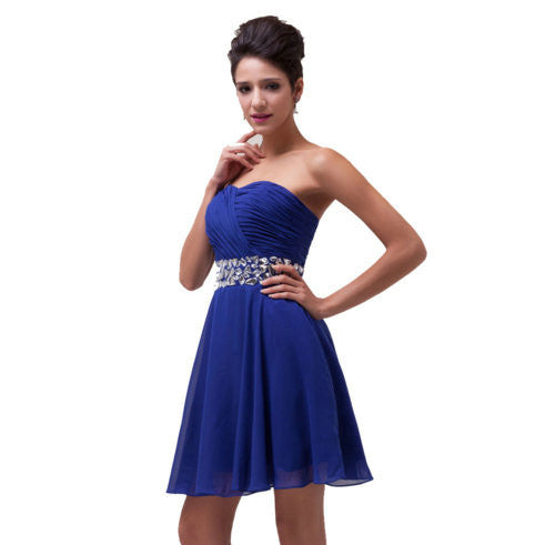 Short Prom Dresses Knee Length Royal Blue pst0286