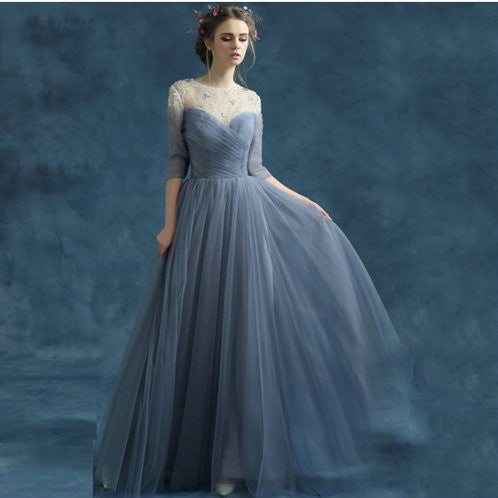 Floor Length Tulle Prom Dresses pst0288