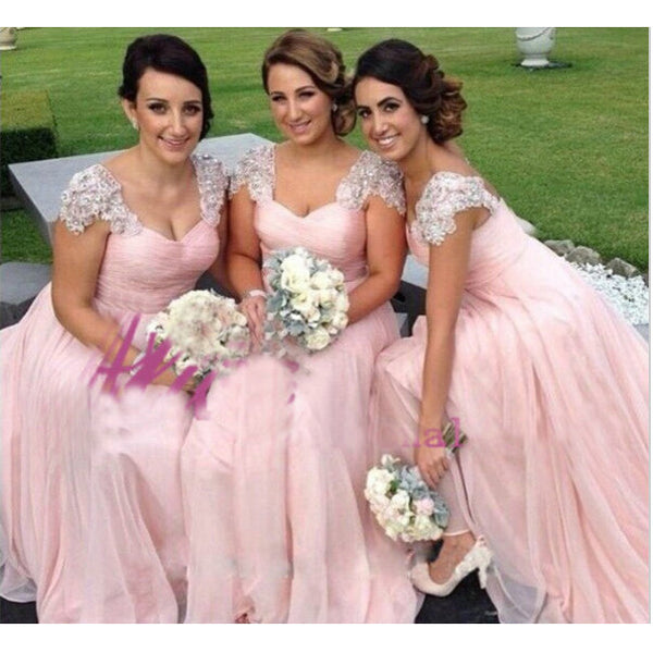 Pink Bridesmaid Dresses Cap Sleeves Floor Length pst0295