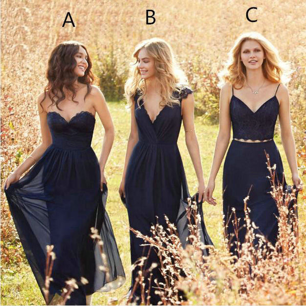 Mismatched Navy Bridesmaid Dresses Floor Length pst0297
