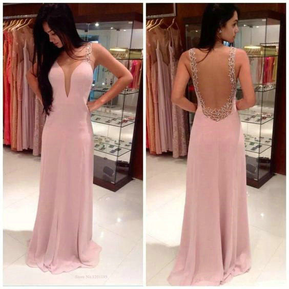 Lace Prom Dresses V Neckline Open Back Floor Length pst0301