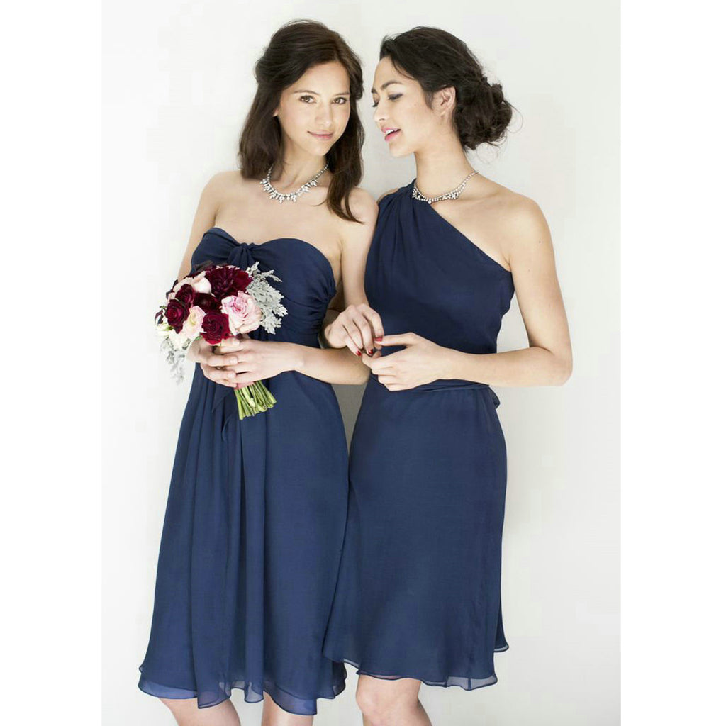Mismatched Navy Bridesmaid Dresses Knee Length pst0325