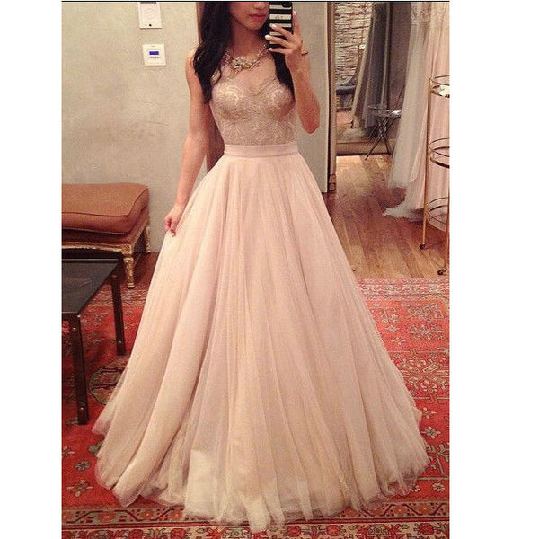 Tulle Prom Dresses Floor Length pst0329