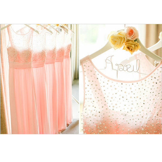 2016 Pink Tulle and Beads Bridesmaid Dresses Floor Length pst0333