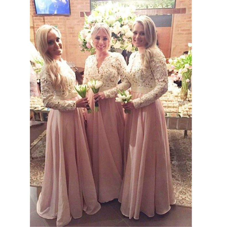 Lace Bridesmaid Dresses Floor Length pst0345