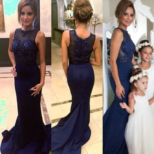 Navy Prom Dresses Floor Length pst0346