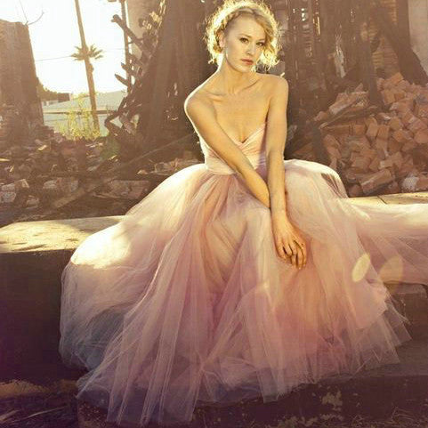 Blush Pink Tulle Prom Dresses Floor Length pst0350