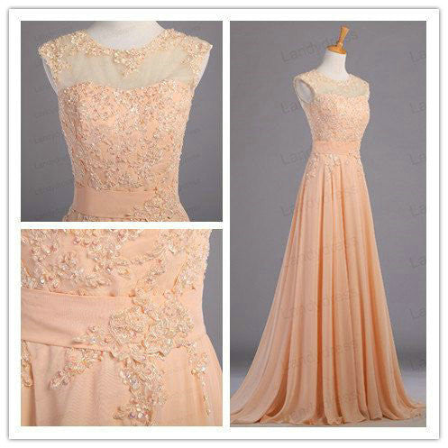 Lace Illusion Neckline Prom Dresses Floor Length pst0351