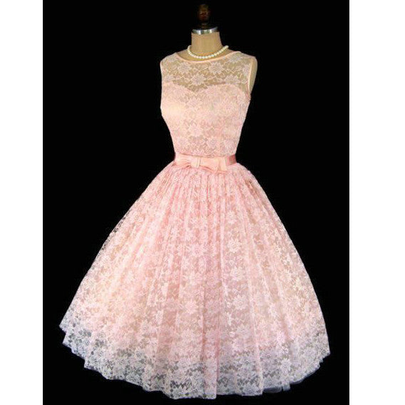 Blush Pink Short Lace Prom Dresses Formal Gowns pst0355
