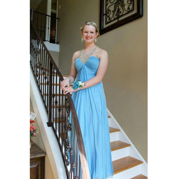Sky Blue Chiffon Prom Dresses Floor Length pst0372
