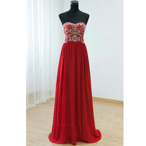 Chiffon Beads Prom Dresses Floor Length pst0373
