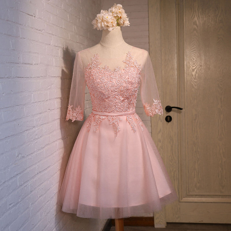 Lace Prom Dresses Pink Celebrity Knee Length pst0384