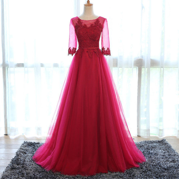 Burgundy Tulle Lace Prom Dresses Floor Length pst0388