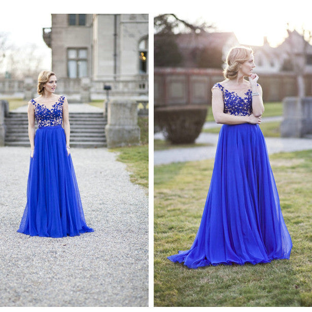 Royal Blue Lace Prom Dresses Floor Length pst393