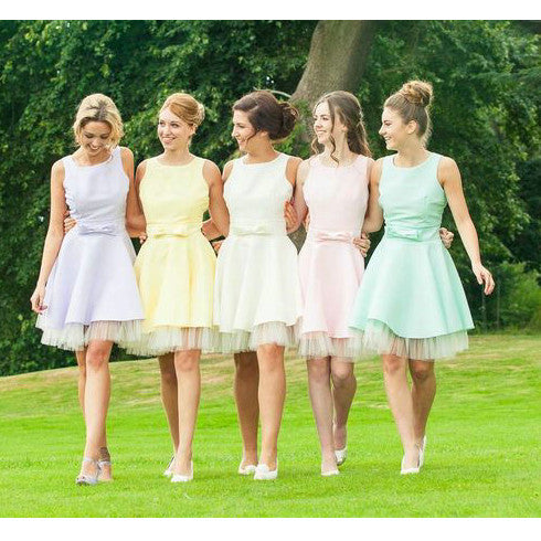 Short Bridesmaid Dresses Floor Length pst394