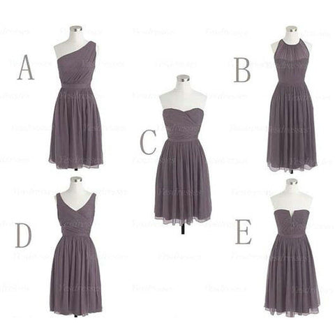 Chiffon Bridesmaid Dresses Knee Length pst398
