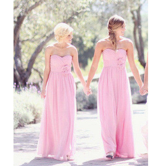 Pink Bridesmaid Dresses Floor Length pst417