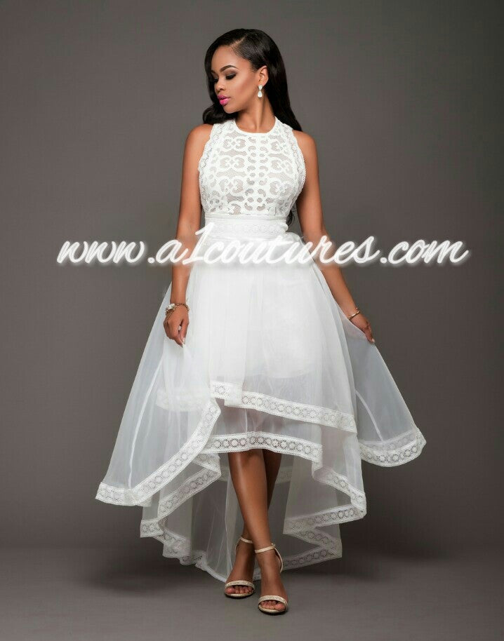 Abony Lace Open Sides High Low Dress