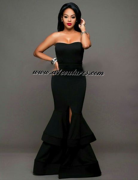 Balbina Strapless Tier Padded Ponti Gown