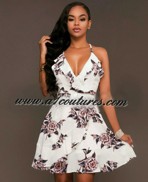 Candice Floral Print Ruffle Dress