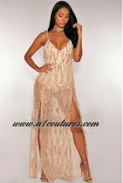 Kenya Champagne Flowing Sequins Maxi Dress