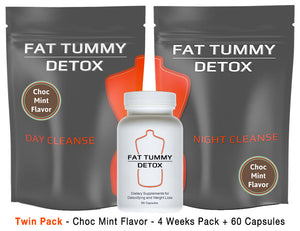 Fat Tummy Detox - Choc Mint - Twin Pack - 4 Week Pack + 4 Week Capsules