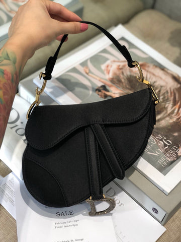 Сумка Dior Suddle сатин черная | Satin suddle bag black