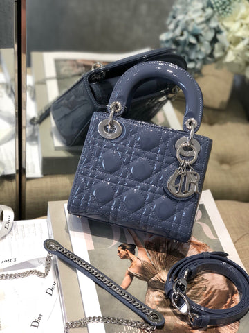 Сумка Lady Dior mini лаковая | Lady CD mini bag blue lacquered