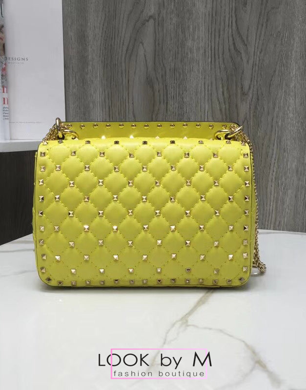 Сумка Valentino Rockstud Spike Medium лимон | Valentino Rockstud Spike Medium Lemon Bag
