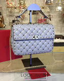Сумка Valentino Rockstud Spike Large серо-голубая | Valentino Rockstud Spike Large Gray Blue Bag