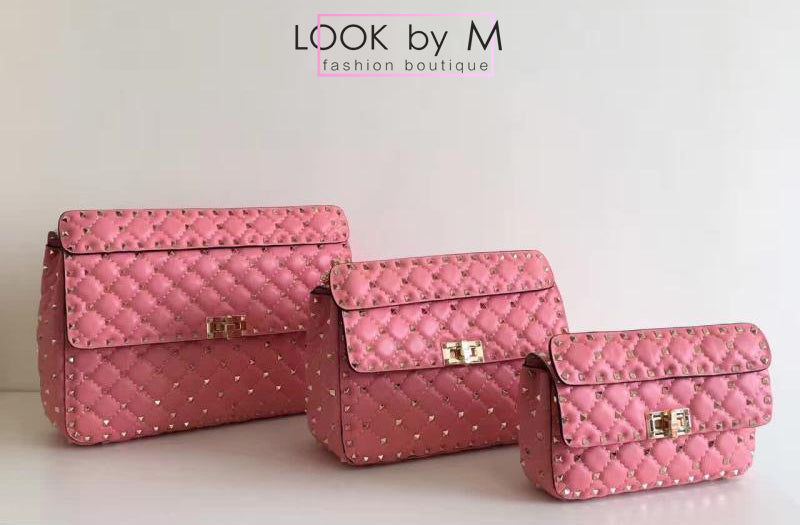 Сумка Valentino Rockstud Spike Medium розовая | Valentino Rockstud Spike Medium Pink Bag