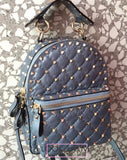 Рюкзак Valentino Rockstud Spike голубой  | Valentino Rockstud Spike Blue Backpack