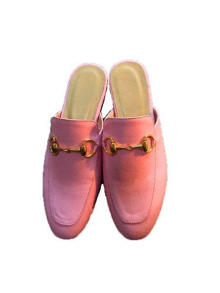 Тапочки Gucci розовые | Slippers Gucci pink leather