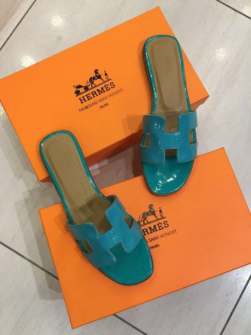 Шлепанцы Hermes бирюза | Hermes leather sandals turquoise