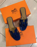 Шлепанцы Hermes синие | Hermes leather sandals blue
