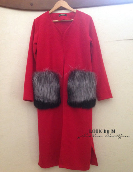 "Кардиган ""Меховые карманы"" 