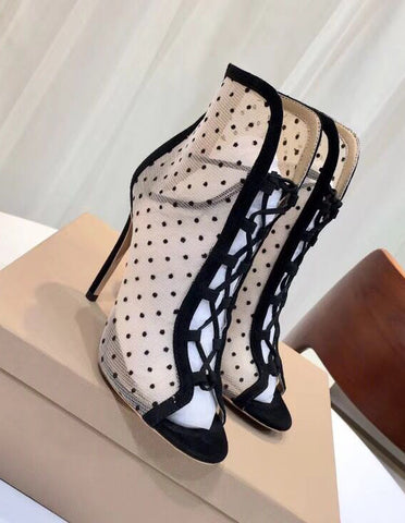 Открытые ботильоны Gianvito Rossi замша | Gianvito Rossi Lace Dot Suede