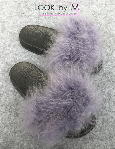 Шлепанцы со страусиным мехом | Slippers with ostrich fur