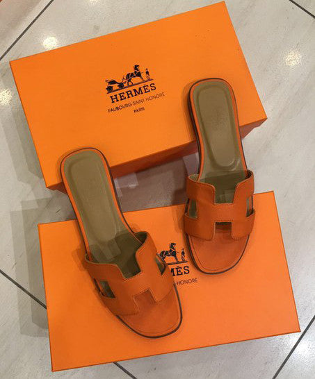 Шлепанцы Hermes оранж | Hermes leather sandals orange