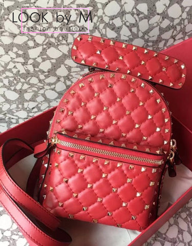Рюкзак Valentino Rockstud Spike красный  | Valentino Rockstud Spike Red Backpack