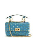 Сумка Valentino Rockstud Spike Mini голубая | Valentino Rockstud Spike Mini Blue Bag
