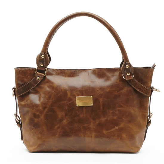 Stylish Italian Full Grain Leather Tan Shoulder Handbag