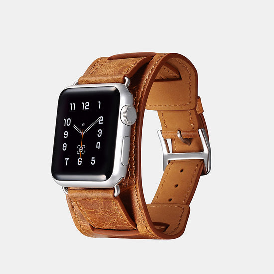 Classic Genuine Leather Quadri-Watchband Series For Apple Watch-Tan/38mm