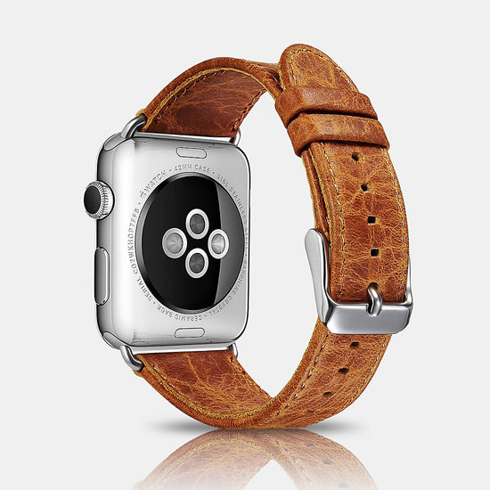Classic Genuine Leather Series Watchband For Apple Watch-Tan
