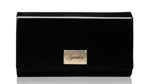Black leather clutch creatively designed and super stylish