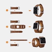 Classic Genuine Leather Quadri-Watchband Series For Apple Watch-Brown/38mm